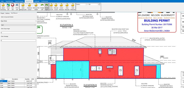 wall areas have been measured almost instantly using RapidBid masonry estimator