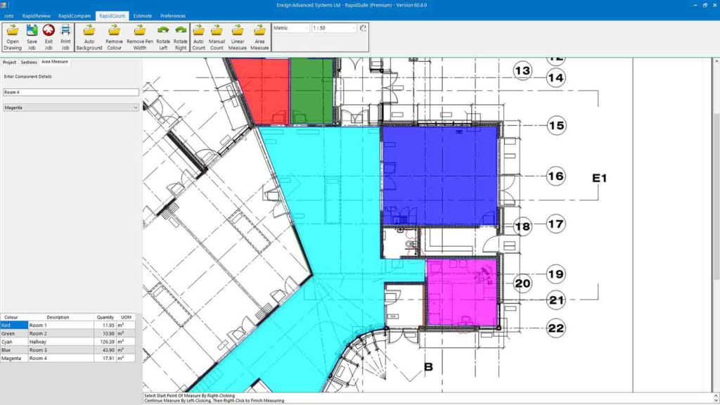 Get flooring estimates by area measures from RapidBid flooring and tile cost estimating software.