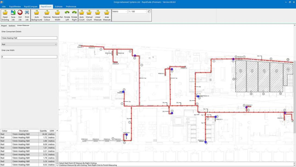 Plumbing takeoff using RapidBid mechanical estimating software