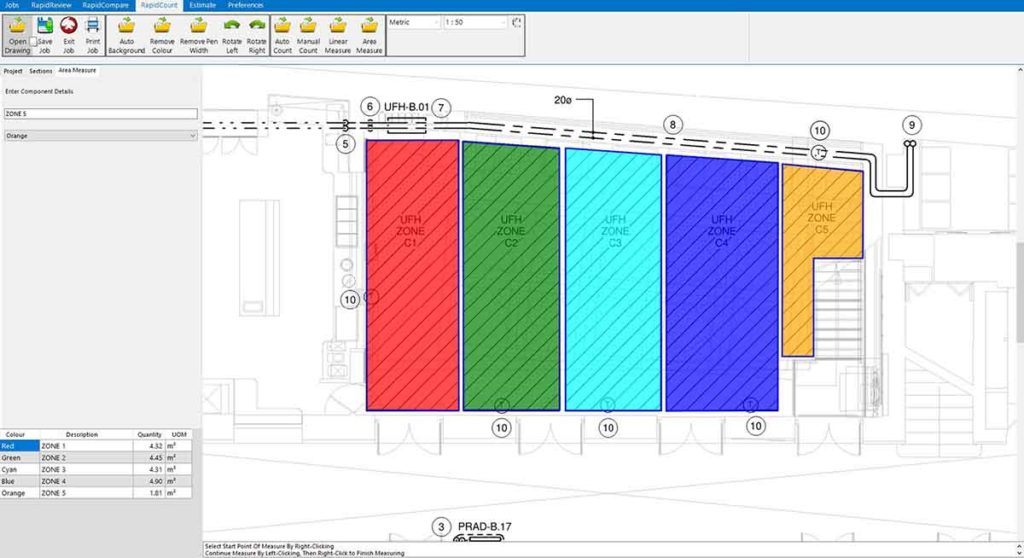 RapidBid quickly measures areas to calculate hydronic heating costs