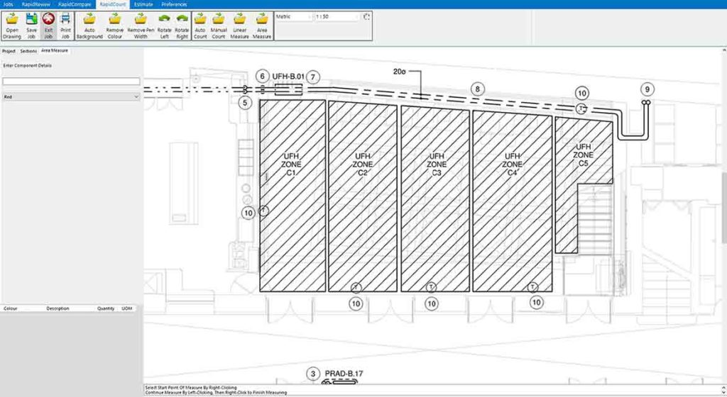 Hydronic drawing before RapidBid estimating software